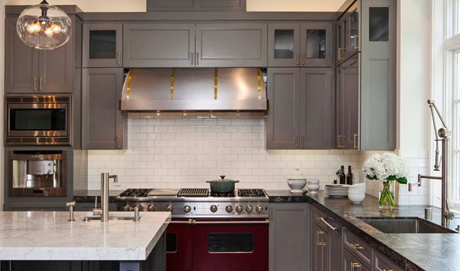 A Mix Of Both Light And Dark Countertops Complements The Gray Cabinets In This Stunning Kitchen By Jules Art Living