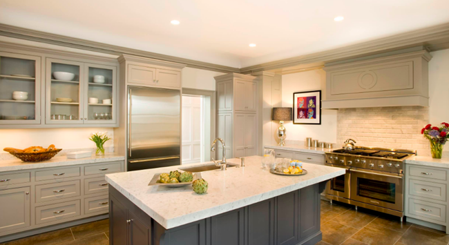What Countertops Go With Gray Cabinets Marble Granite - Gray kitchen cabinets with marble countertops